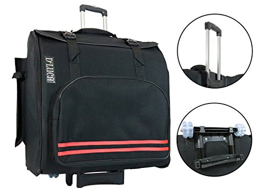 D'Luca Pro Series Accordion Gig Bag for 96/120 Bass Piano Accordions with Wheels, Black by D'Luca