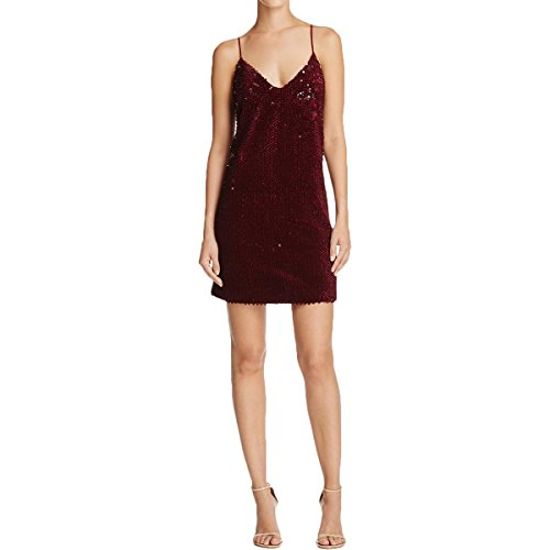 KENDALL + KYLIE Womens Sequined Velvet Slip Dress Red M - Kendall Slip