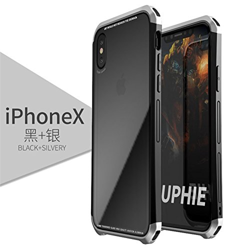 iPhone X Case, LWGON Luxury Aluminum Metal Frame + Transparent Tempered Glass PC Back Triple Cover case for iPhone X (3Glass Silver)