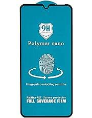 شاشة حماية لاصقة منحنية زجاج مقوى نانو بوليمر مقاومة للصدمات لموبايل شاومي ريدمي 9، 6.5 بوصة - اسود
