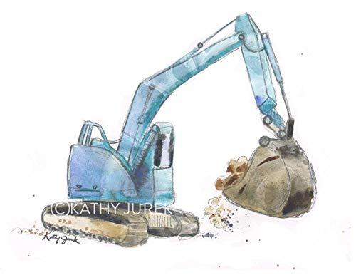 Giclee Art Matte (Nursery Wall Decor | Blue Excavator Construction Truck Wall Art Print for Kid's Room | 8.5 x 11 Inch Gallery Quality Fine Art Giclée Print)