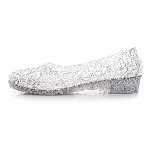 OMGard Womens Summer Ballet Flat Jelly Shoes Hollow Glitter Crystal Platform Sandals Color White Size (Summer Ballerina)