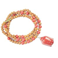 Healing Stones Necklace Mala Bead - Rudraksha Coral Protection Mala Buddha Pendant Jewelry