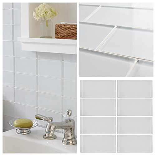 3''x6'' Snow White Crystal Glass Subway Tile For Kitchen Bathroom Shower Wall (Box of 5 sq ft $79)