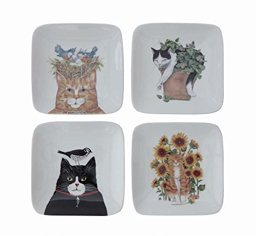 Cats With Birds And Plants White 5 x 5 Stoneware Decorative Square Plates, Set of 4]()