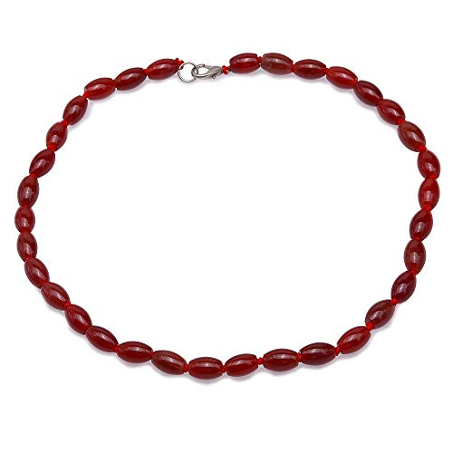 JYX Red Oval Drum Agate Necklace 8x11.5mm Onyx Genmstone Beads Necklace for Women 18