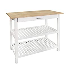 Farmhouse Kitchen Casual Home Kitchen Island with Solid American Hardwood Top, Natural/White, 40″ W (373-91) farmhouse kitchen islands and carts