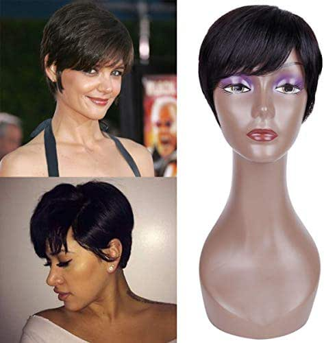 BECUS 100% Remy Human Hair Short Pixie Cut with Bangs Straight Brazilian Hair Wigs for Women Free Part with Cap (Natural Black 1B#)