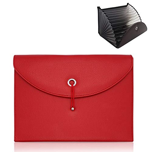 - Z-special Expanding File Folders PU Leather Business According File Folder Organizer Large Capacity Document Keeper Paper File dividers Travel File Organizer Briefcase Carry Case with 13 Pockets(Red)