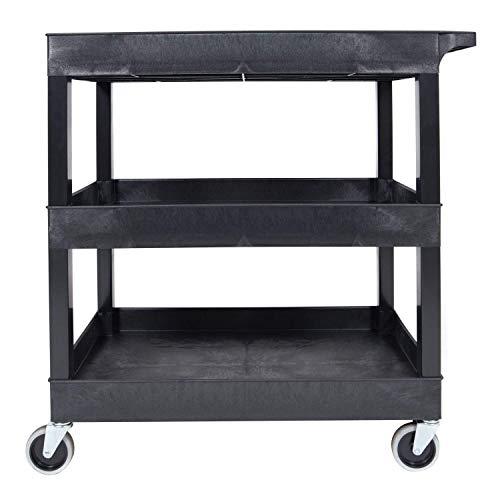 Offex 32 W x 18 D Rolling 3 Shelf Tub Storage Utility Cart with 5 Casters – Black