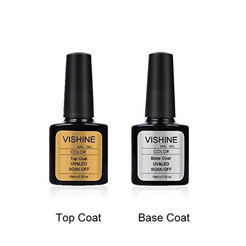 Vishine 2pcs Top Coat + Base Coat UV Gel Nail Polish Primer Nail Art 10ml