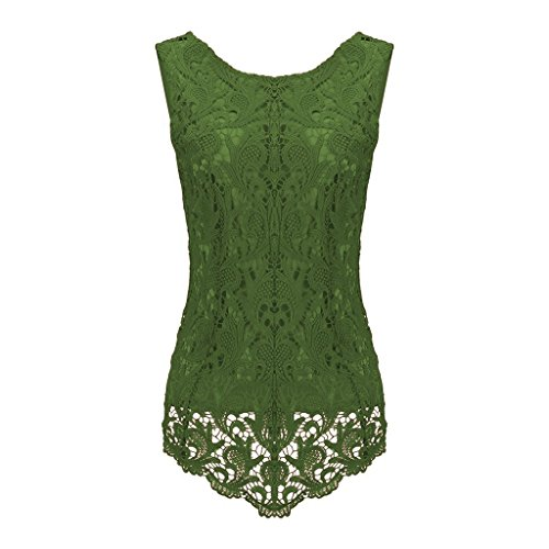 Sumtory Women's Lace Blouse Sleeveless Embroidery Tops Vest Shirt Blouse – Small, Army Green