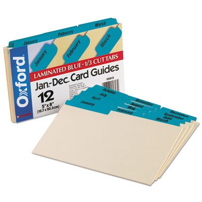 Laminated Tab Index Card Guides, Monthly, 1/3 Tab, Manila, 5 x 8, 12/Box, Sold as 12 Each