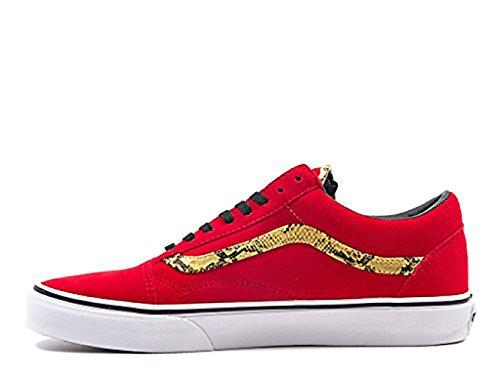VANS Men's Old Skool Suede Snake Print Sneakers 42.5 Red Size 12