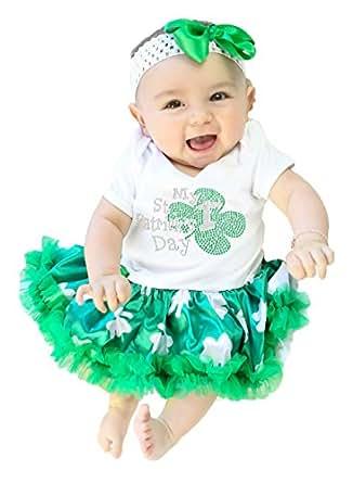My 1st St Patrick Day Baby Dress White Bodysuit Green Clovers Tutu Set Nb-18m (0-3 Months)