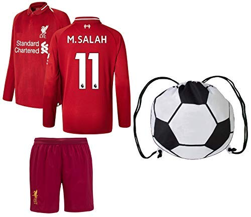 7ad7f056242 Euro Fanatics Liverpool Salah  11 Youth Soccer Jersey Home Long Sleeve Kit  Shorts Kids Gift Set (YL 10-13 Years