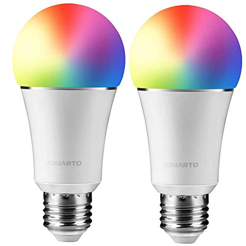 (JOMARTO Smart WiFi LED Light Bulb, 2 Pack Compatible with Alexa/Google Home, 60W Equivalent Color Changing Multicolor Dimmable Light Bulb 900LM Remote Control No Hub Required (9W E26))