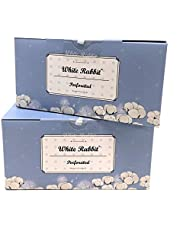 White Rabbit Premium Cotton Pad Authentic Korean 100% cotton - box of 200 cotton Pads per box- Untreated, Grown Free of Pesticides and Chemical Fertilizers (2 Pack, Perforated)
