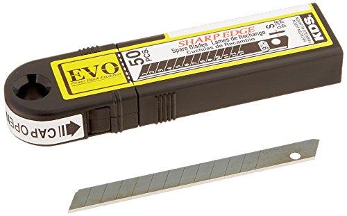 KDS SB-50B EVO Slim (8mm), Standard Duty, 13-Segment Snap-Off Black EVO Blades, High-Tempered Steel, 50-Blade Pack by KDS
