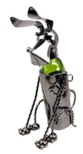 "Atlantic Collectibles Cute Basset Hound Sitting Pet Dog Hand Made Metal Wine Bottle Holder Caddy Decor Figurine 13.5""H"