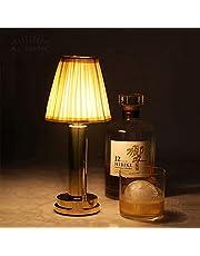 Uppladdningsbar sladdlös LED-bordslampa kan dimbar, varmvit LED-restaurangbordslampa Batteridriven för vardagsrumsbar utomhus, USB-skrivbordslampa med tygskärm, sovrumssänglampa, 3W, guld
