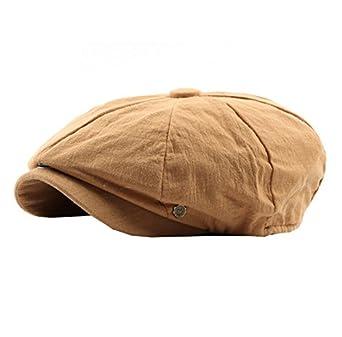 ACVIP Men s Summer Cotton and Linen Baker Boy Hat Flat Cap (Wheat ... b6bbc286579
