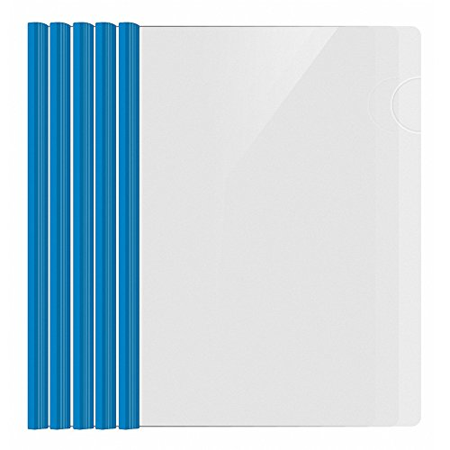 Shxstore Resume Portfolio Folder, Clear Presentation Folders with Blue Report Covers Sliding Bar for A4 Size Paper, 5 Counts