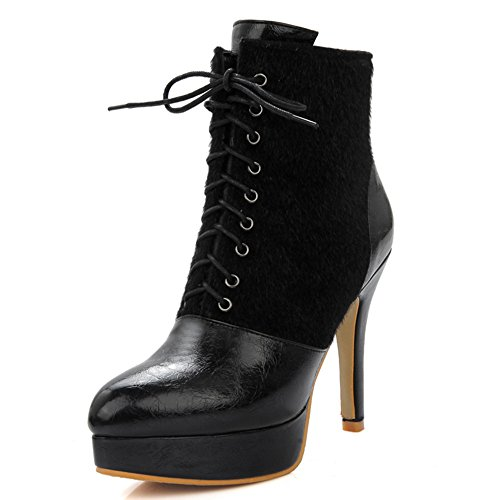 Fashion Heel Womens Stiletto Heel Pointed Toe Platform Lace Up Ankle Bootie Black ruJ6kon