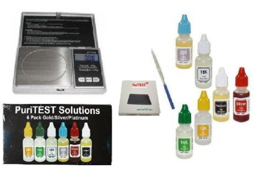 Metal Detector Accessories- Kit to Test Silver, Platinum, Gold Purity 10kt 14kt 18kt 22kt 24kt- Testing Treasure Finds