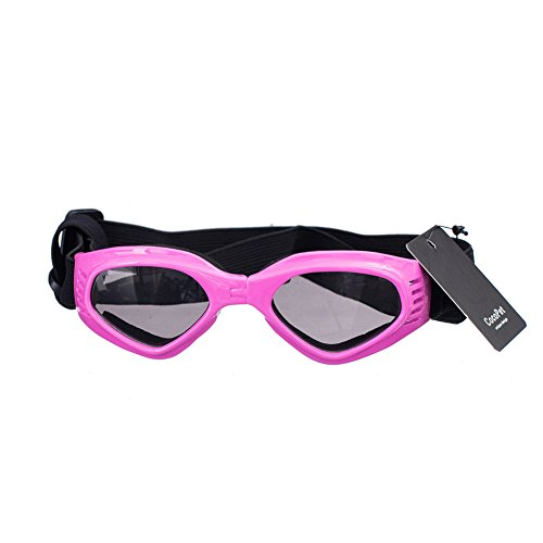 COCOPET [NEW VERSION] Adorable Dog Goggles Pet Sunglasses Eye Wear UV Protection Waterproof Sunglasses for Puppy Dogs Small Medium Pink from COCOPET