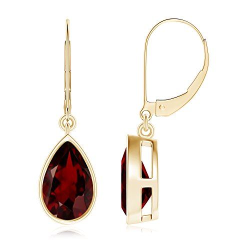 Bezel Set Pear Shaped Garnet Leverback Drop Earrings in 14K Yellow Gold (9x6mm - Earrings Shaped Garnet Pear