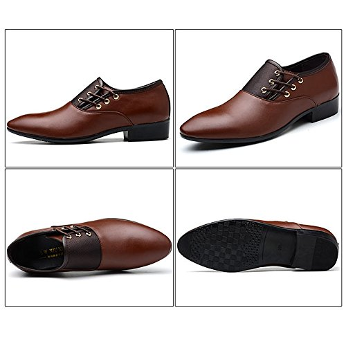 Ying Lan Mens Oxfords Lace Up Bout Pointu Mariage Formel Affaires Robe Pu Chaussures En Cuir Brun