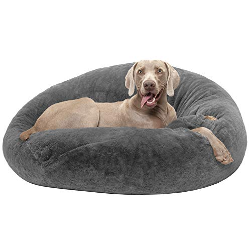 FurHaven Pet Dog Bed | Round Plush Ball Pet Bed for Dogs & Cats, Gray Mist, Large (Dog Mist)