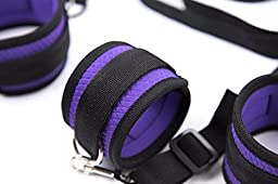 Bondage under the Bed Mattress Restraints BDSM System with Cuffs for Ankles and Wrists PURPLE