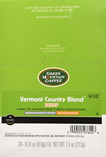 (Green Mountain Coffee Vermont Country Blend Decaf, K-Cup for Keurig Brewers, 24-Count (Pack of 2))