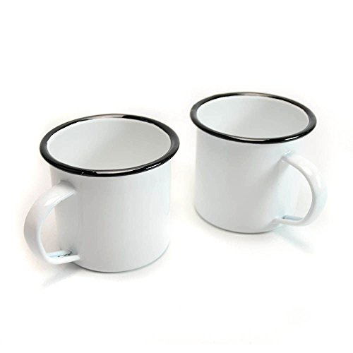Camping Iron Enamel Mug with Handle Outdoor/Indoor 12oz 340ml (White 2-Pack)