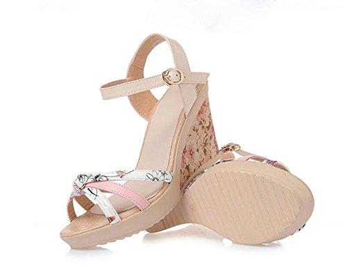 Haut 36 pink éTanche YC Comfort FL à Femmes Plateforme Cuir Talon Epais Casual Sandales Sandales D'éTé qw6vWwOZ