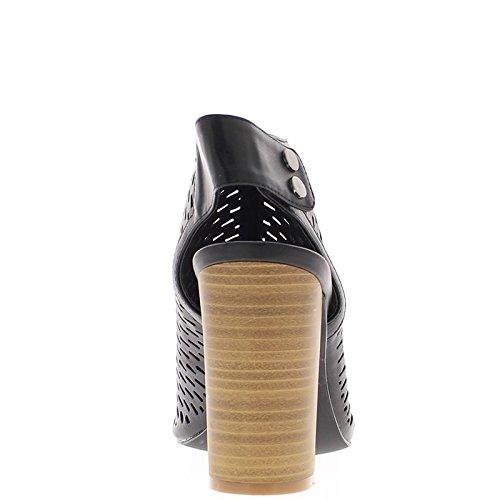 Venta por mayor negro sandalias tacón 10 cm micro perforado