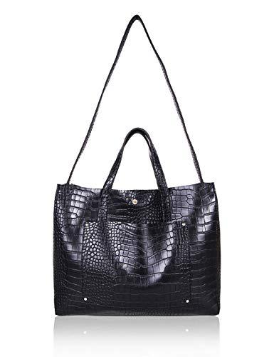 The Lovely Tote Co. Women's Crossbody Bag Pocket Big Capacity Tote,Black (Handbag Tote Crocodile)