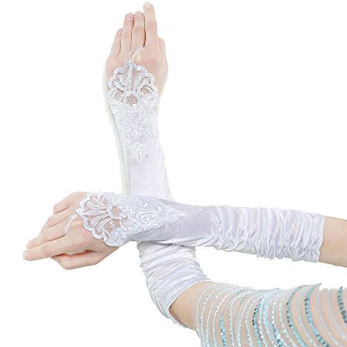 Qingrong Fingerless Beaded Lace Bridal Gloves for Formal Wedding Party(Ivory white)