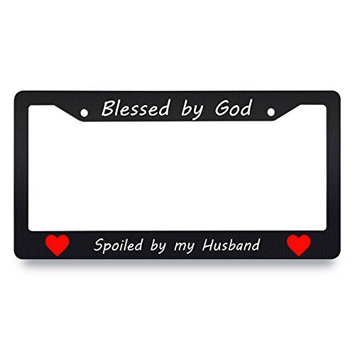 Jesspad Blessed by God Spoiled by My Husband License Plate Frame Black License Plate Cover Funny Heart Auto Tag Holder Personalized Car Tag Frame Novelty Car Tag Holder,12 X 6 ()