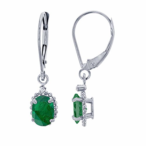 14K White Gold 1.25mm Round White Topaz & 6x4mm Oval Emerald Bead Frame Drop Leverback Earring