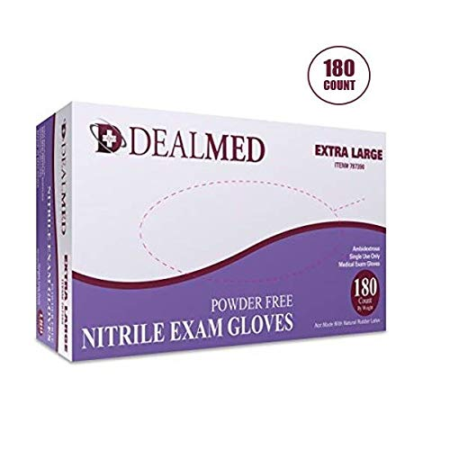 Dealmed Brand Nitrile Medical Grade Exam Gloves, Disposable, Latex-Free, 180 Count, Size Extra Large