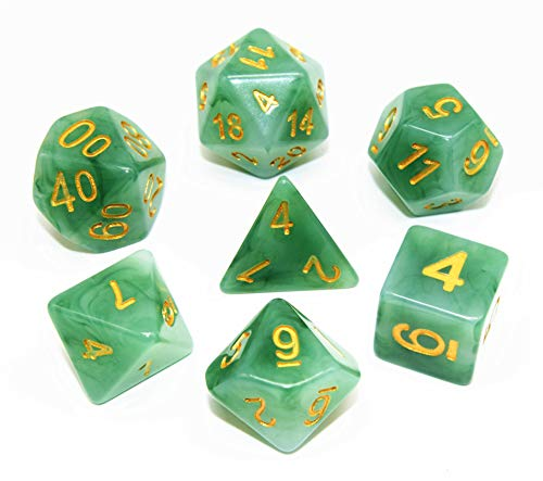 HD DND Polyhedral Dice Set RPG Green Jade Dice Compatible Dungeons and Dragons Role Playing Game,MTG,Pathfinder,Table Game,Board Games Dice Set (Jade Green)