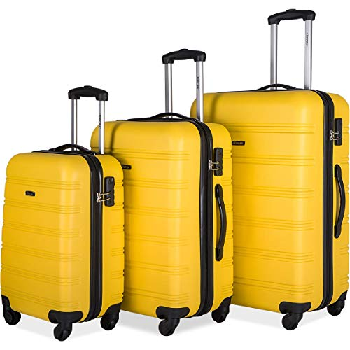 Merax 3 Pcs Luggage Set Expandable Hardside Lightweight Spinner Suitcase (yellow2019)
