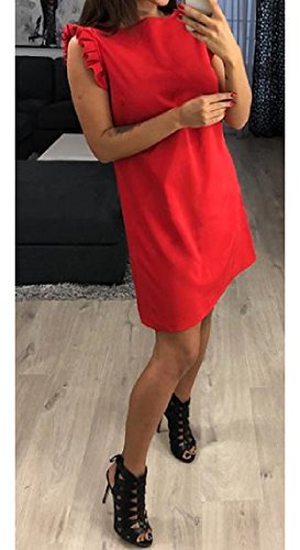 Line Coolred Dress Fashion Sleeveless Casual Red Drape Tunic A Top Women Up Z1ZwrqxR