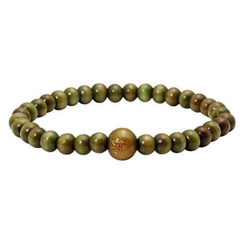 MILAKOO 5mm Beads Tibetan Buddhist Buddha Prayer Mala Green Wood Beads Bracelet Bangle