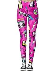 DIYCCY Yoga Broek Neon Roze Trendy 80S Leggings voor Vrouwen Hoge Taille