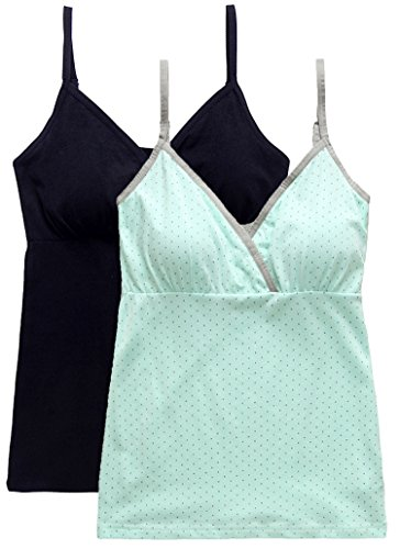 Nursing Tank Tops, Maternity Nursing Bras Camisole Pajamas For Breastfeeding (Medium: Fits for Weight 130-155 lb, Black+Light Green)