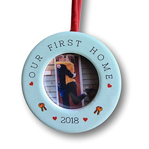 """BANBERRY DESIGNS Our First Home – Dated 2018 Photo Christmas Ornament with Easel Back – 2"""" Picture Opening – Housewarming -"""